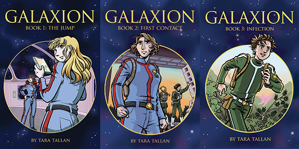 Cover images of Galaxion graphic novels, books 1, 2 and 3.