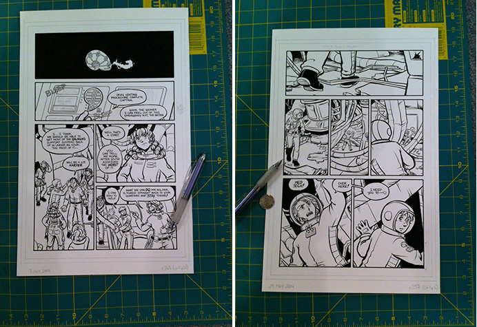 Photo of original art for pages 357 and 363